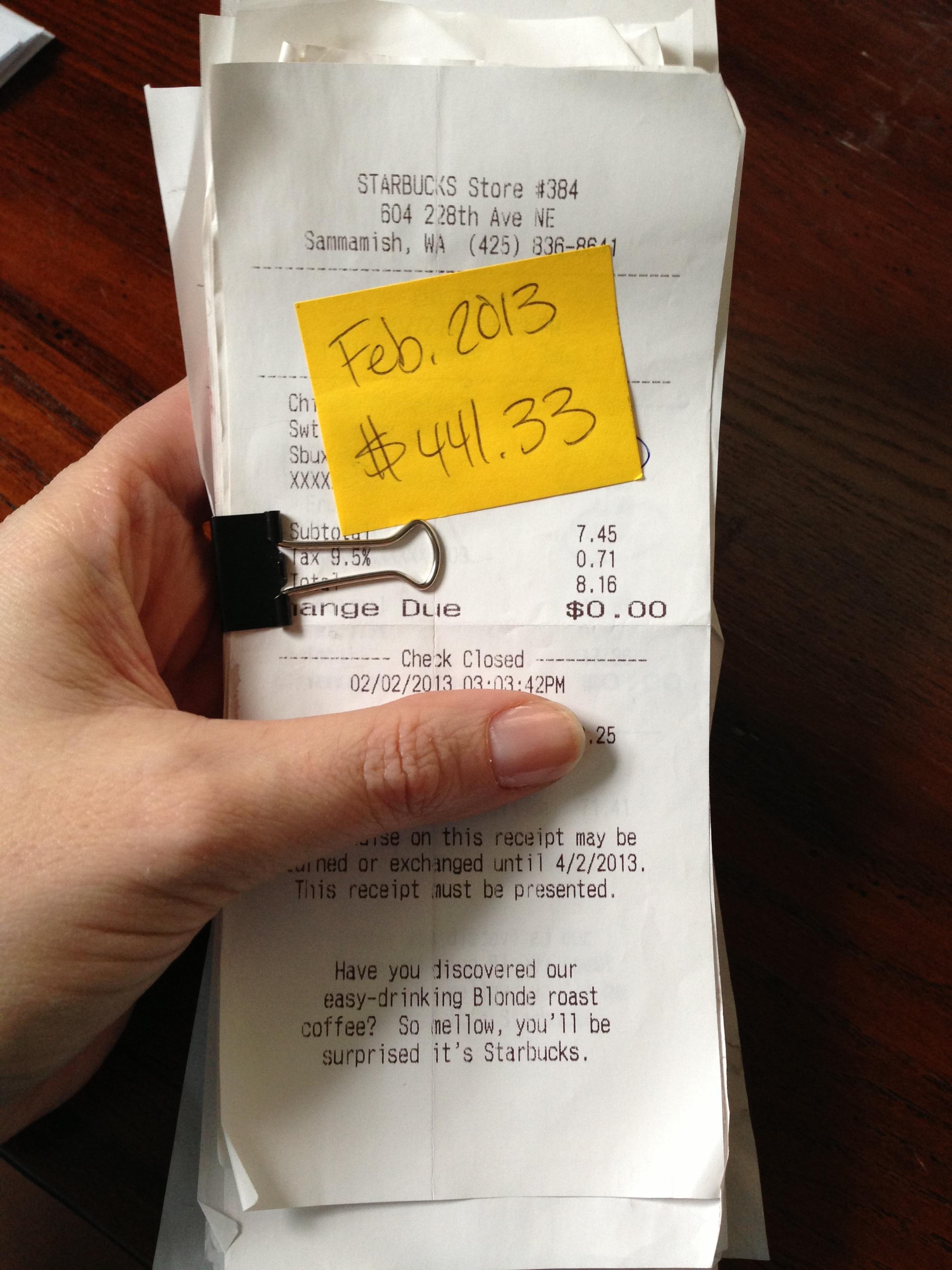 February Starbucks receipts