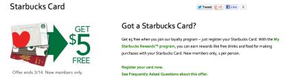 Starbucks $5 promotion