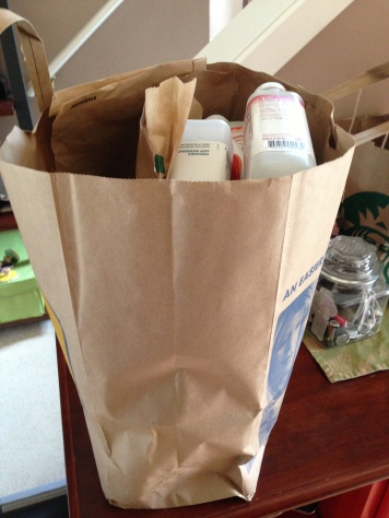 1st grocery bag full of packaging
