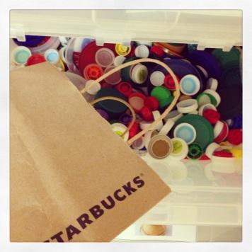 recycled Starbucks bottle tops
