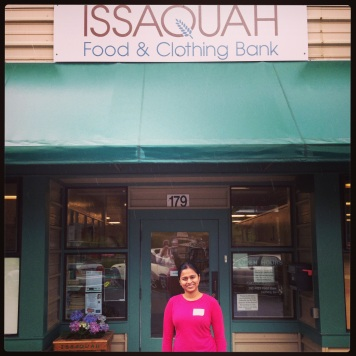 Sandya volunteer at Issaquah Food Bank