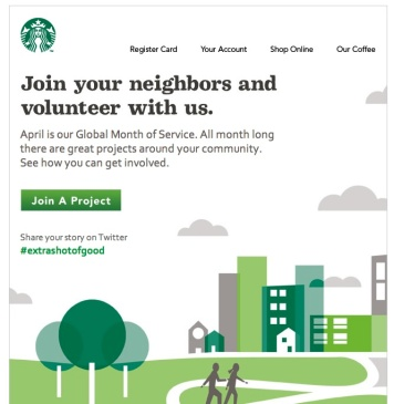 Starbucks email Month of Service
