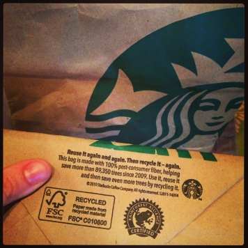 Starbucks Reuse quote on bag bottoms