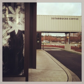 Starbucks shipping container store drive through