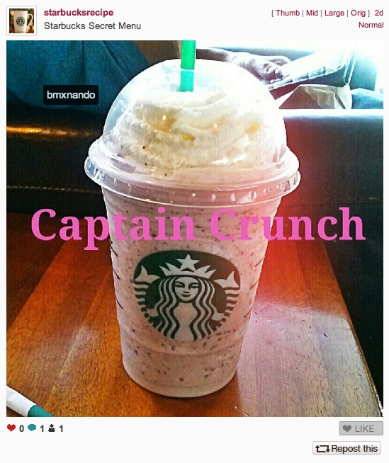 Starbucks Instagram Capt Crunch Frapp