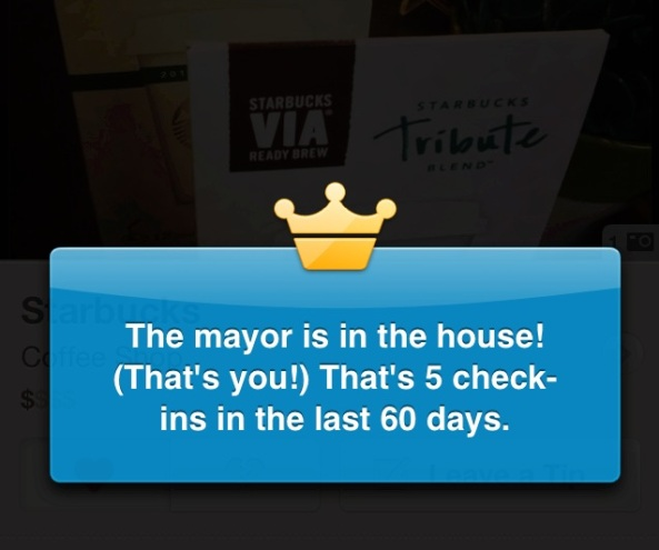 Foursquare Starbucks Mayor