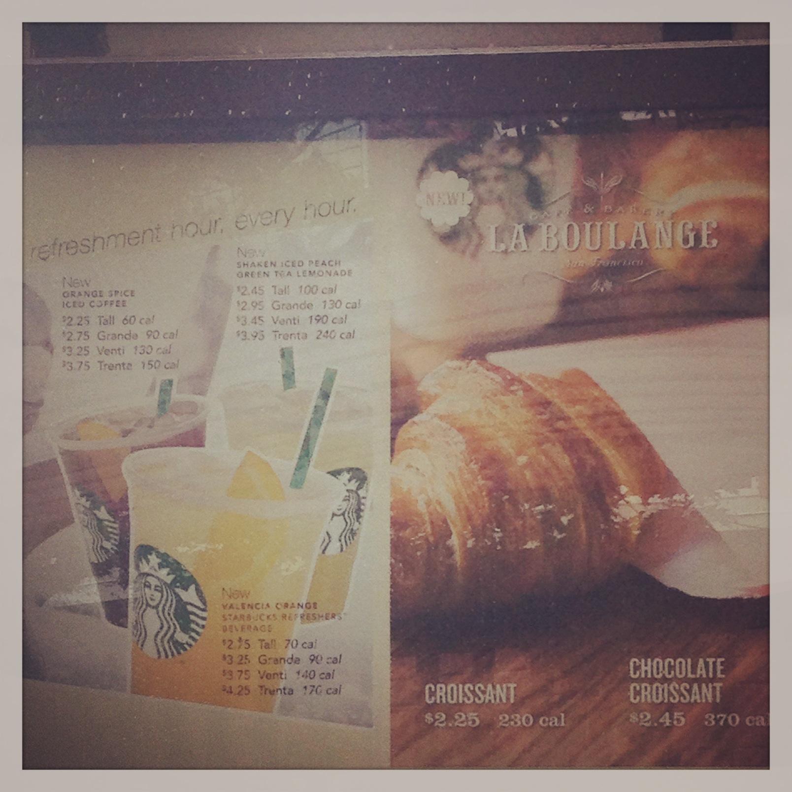 Starbucks Calorie menus