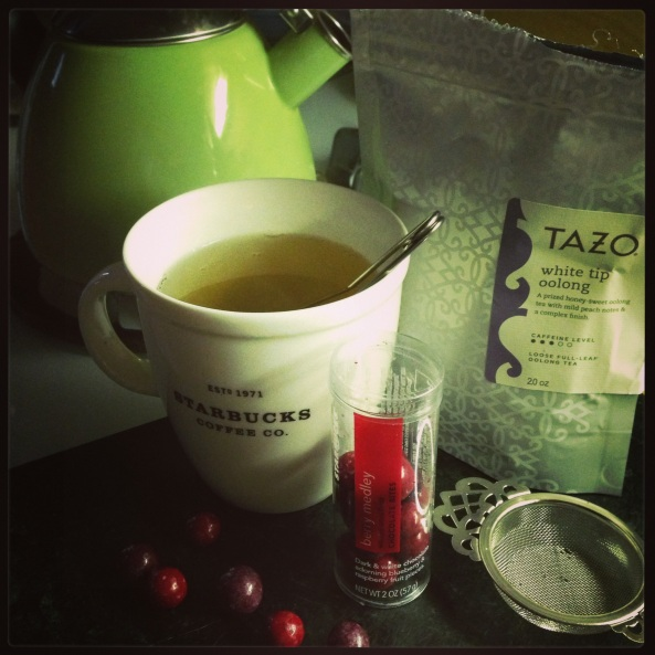 Tazo Tea White Tip Oolong and treats