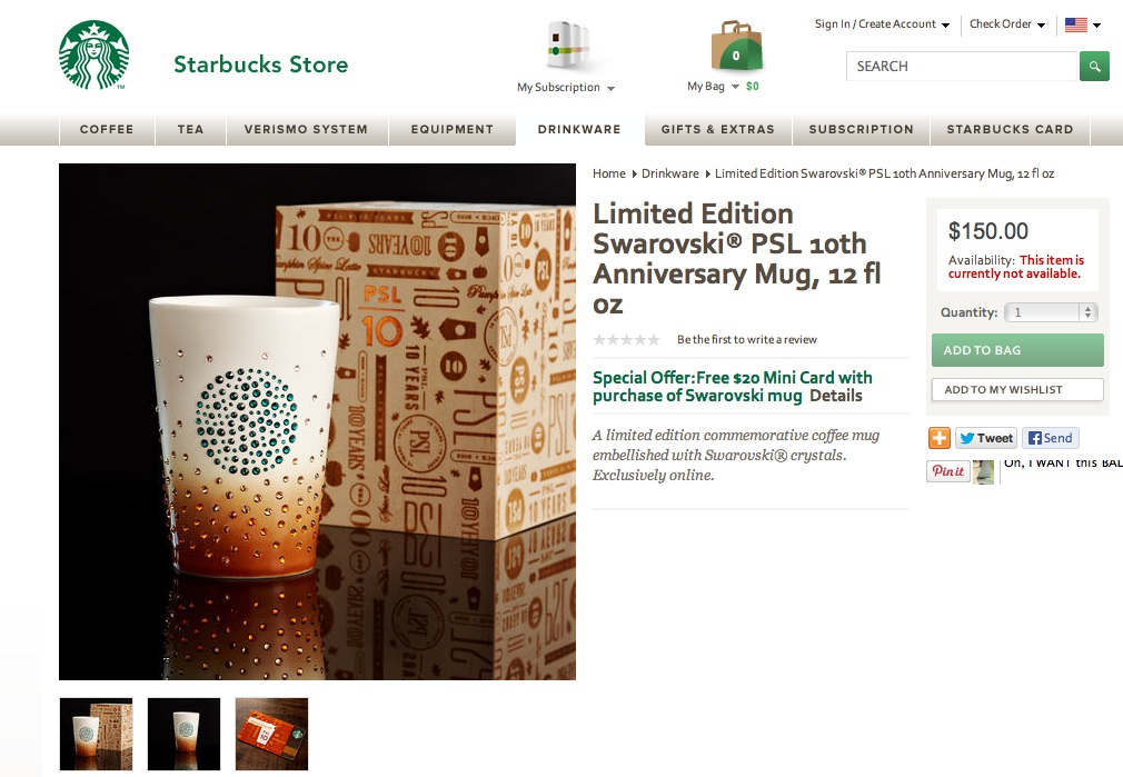 Limited Edition Swarovski Starbucks mug
